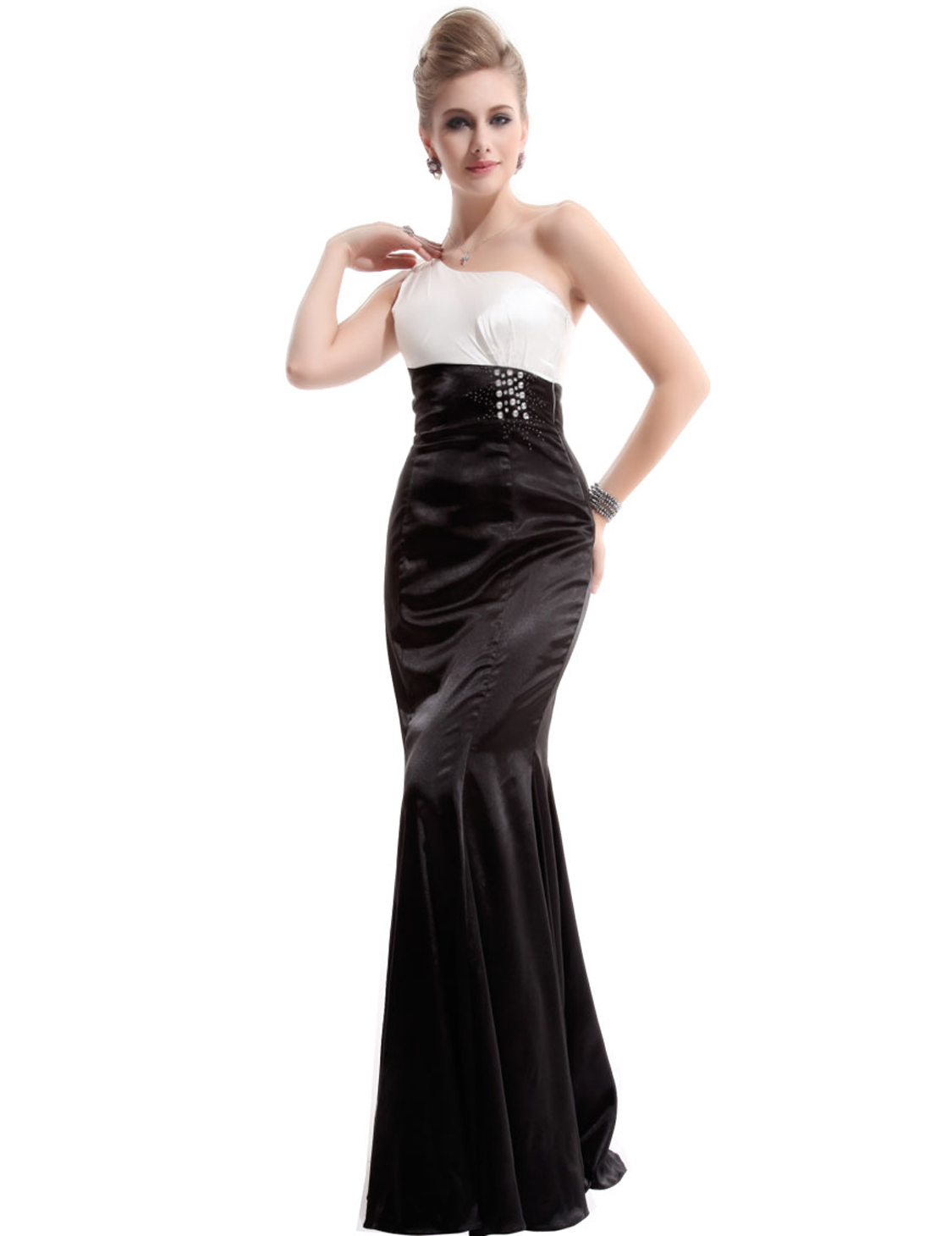 Elegant One Shoulder Black White Long Evening Party
