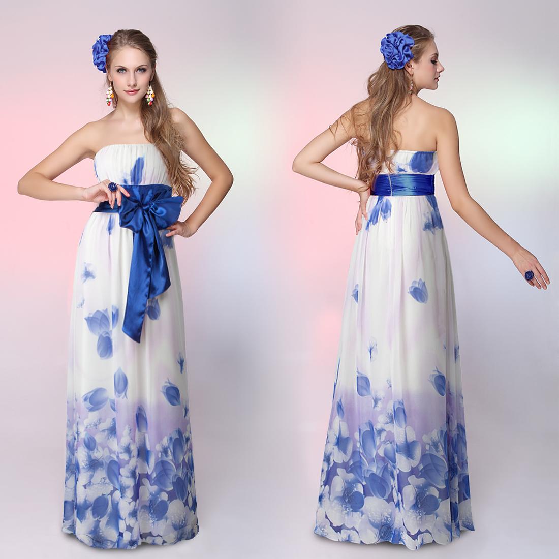Белое платье с голубым поясом 4